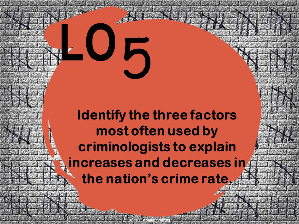 Identify the three factors most often used by criminologists to explain increases and decreases in the nation's crime rate.