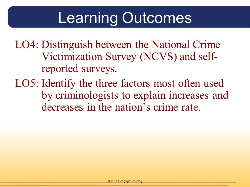 Learning Outcomes LO4: Distinguish between the National Crime Victimization Survey (NCVS) and self-reported surveys.