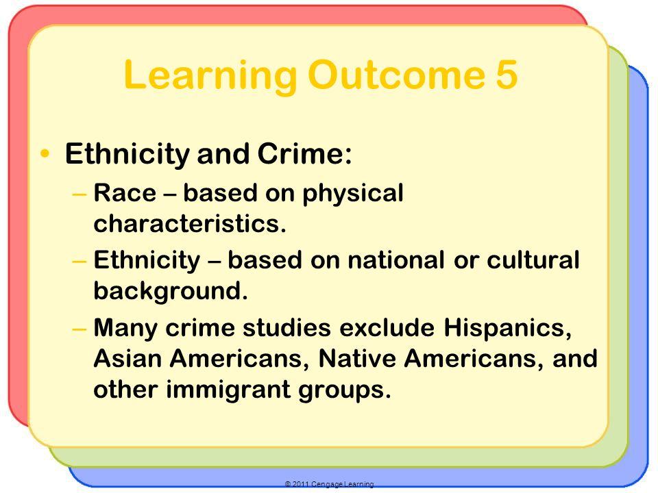 Learning Outcome 5 Ethnicity and Crime:
