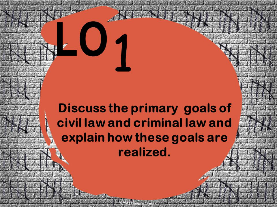 Discuss the primary goals of civil law and criminal law and explain how these goals are realized.