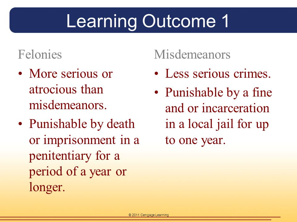 Learning Outcome 1 Felonies