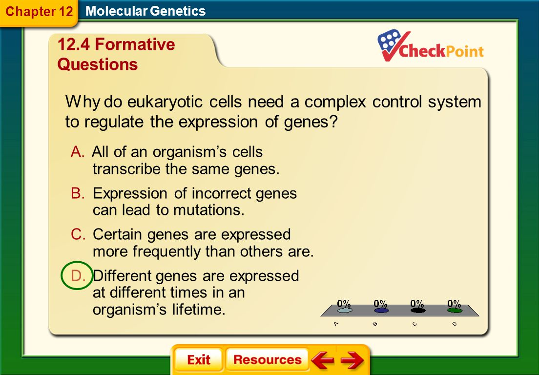 Chapter 12 Molecular Genetics. 12.4 Formative Questions. Why do eukaryotic cells need a complex control system to regulate the expression of genes