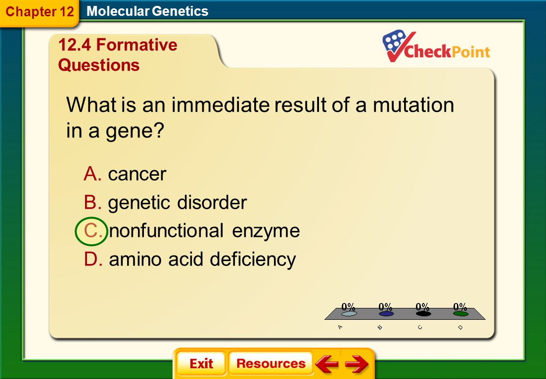 What is an immediate result of a mutation in a gene
