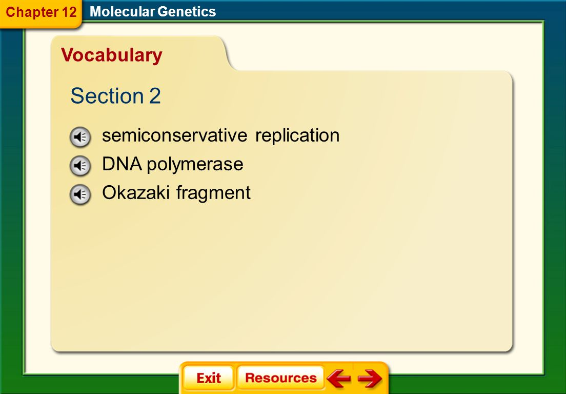 Section 2 Vocabulary semiconservative replication DNA polymerase