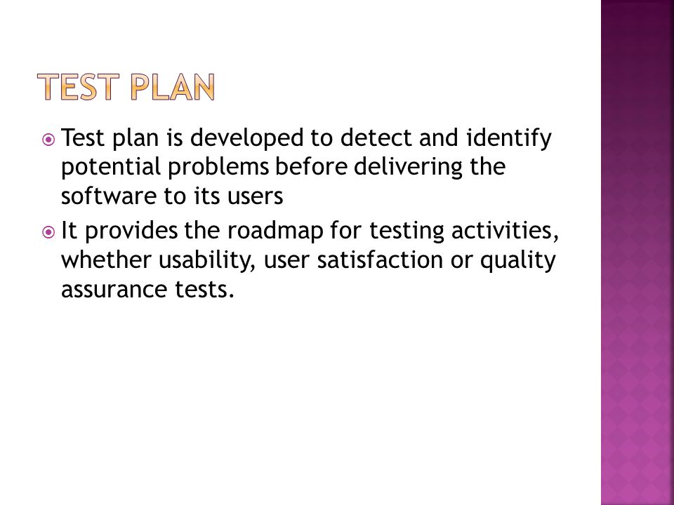 Test Plan Test plan is developed to detect and identify potential problems before delivering the software to its users.