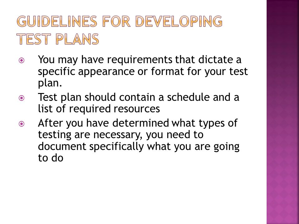Guidelines for Developing Test Plans
