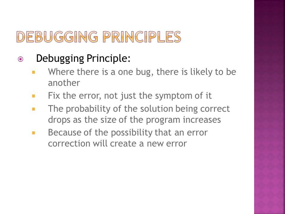 Debugging Principles Debugging Principle: