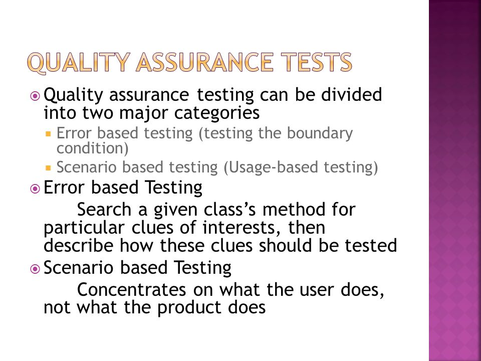 Quality Assurance Tests