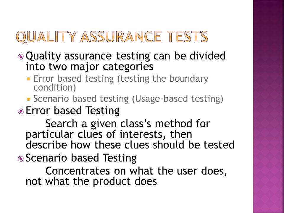 Quality Assurance Tests