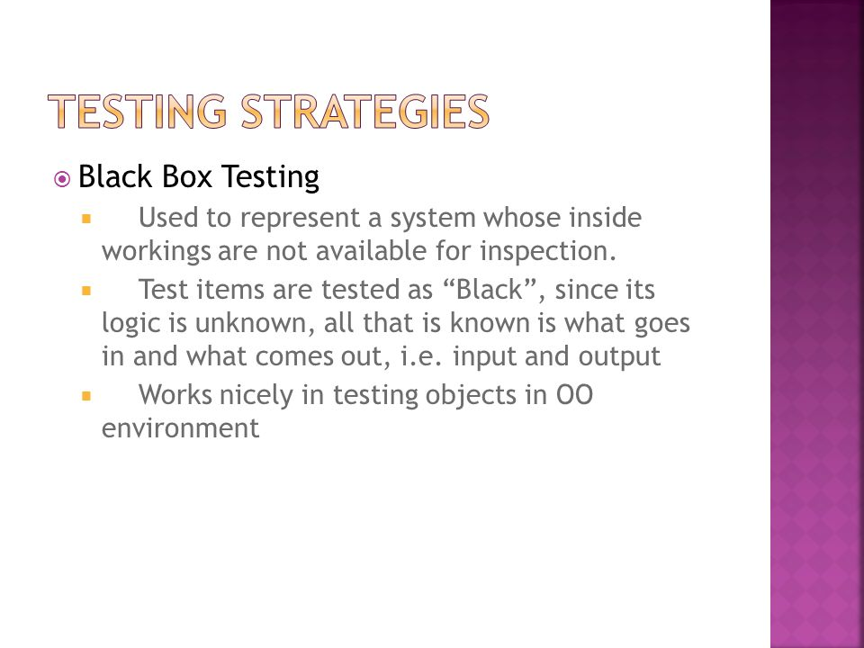 Testing Strategies Black Box Testing