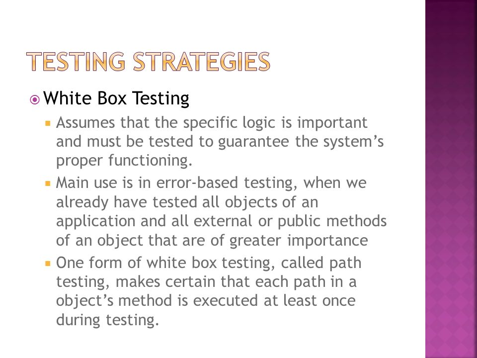 Testing Strategies White Box Testing