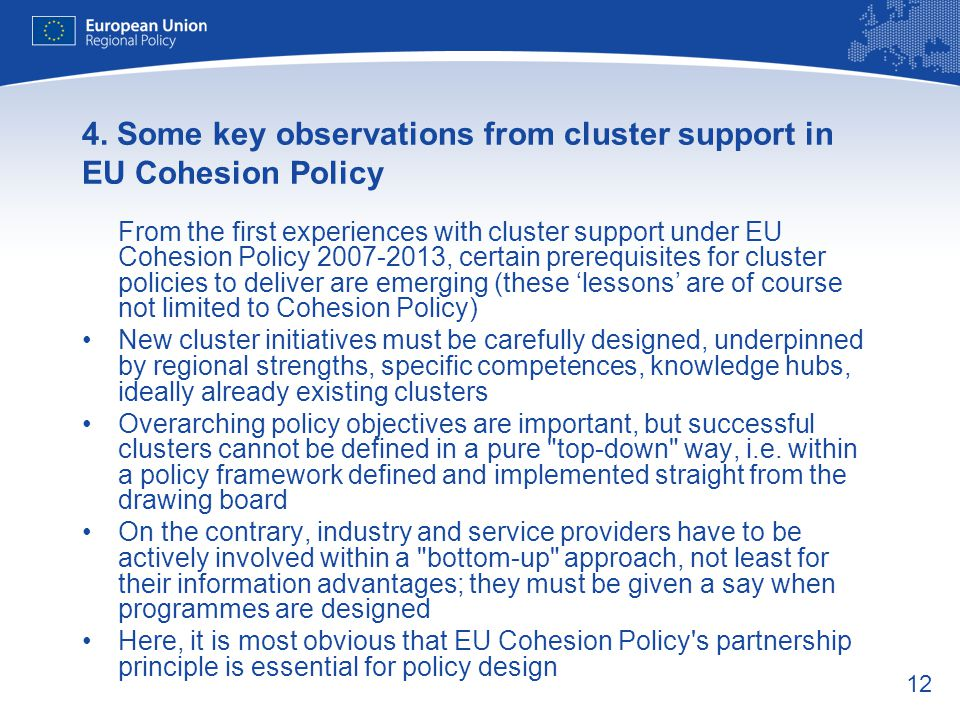 4. Some key observations from cluster support in EU Cohesion Policy