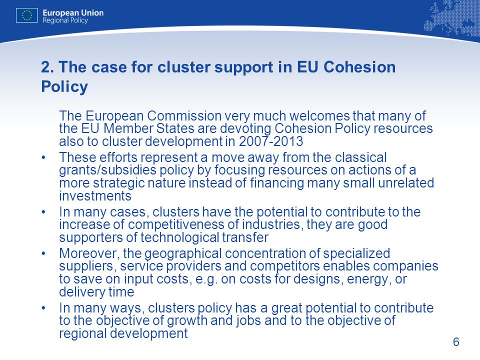 2. The case for cluster support in EU Cohesion Policy
