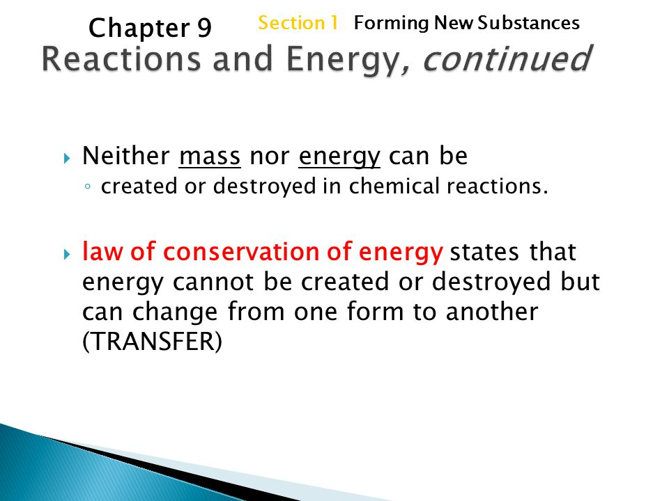 Reactions and Energy, continued