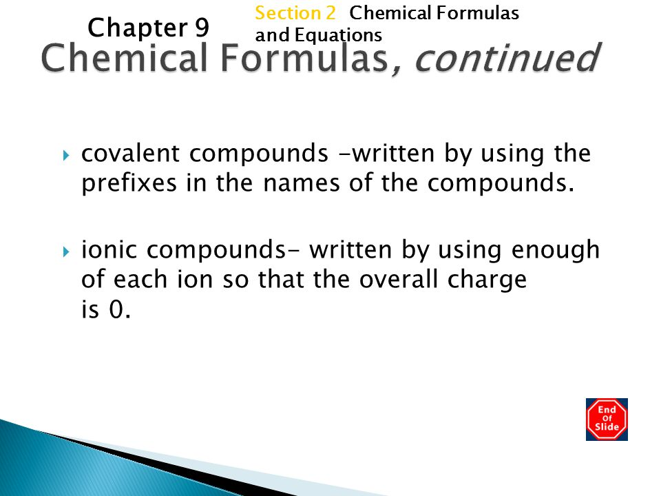 Chemical Formulas, continued