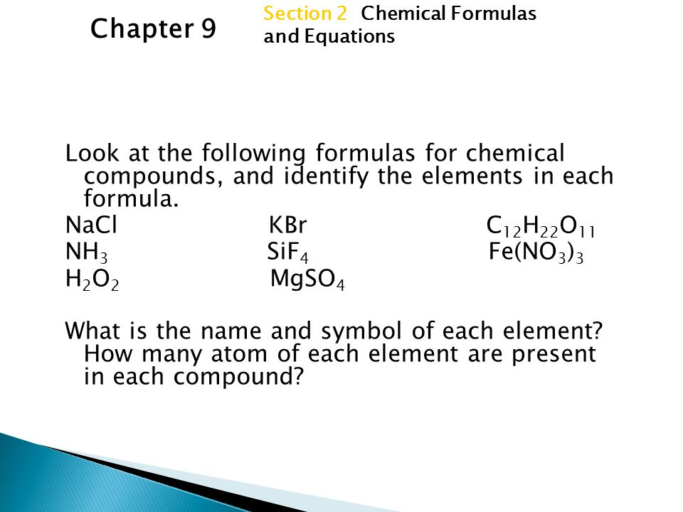 Section 2 Chemical Formulas and Equations