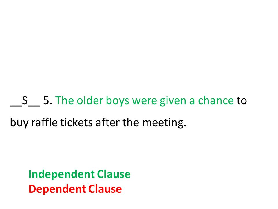 __S__ 5. The older boys were given a chance to buy raffle tickets after the meeting.