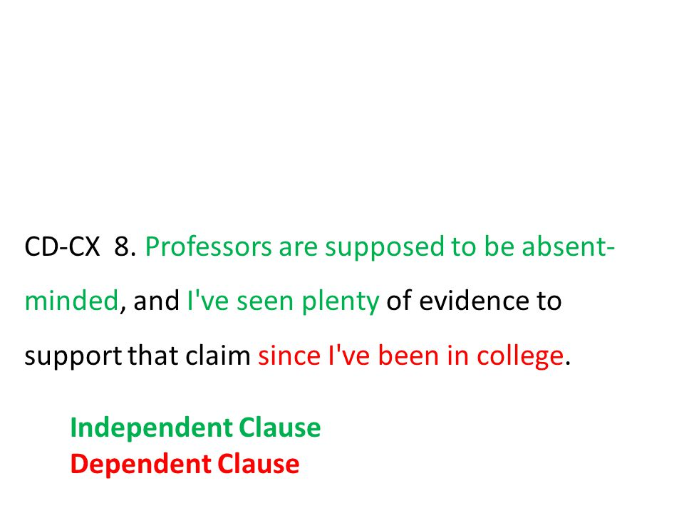 CD-CX 8. Professors are supposed to be absent-minded, and I ve seen plenty of evidence to support that claim since I ve been in college.