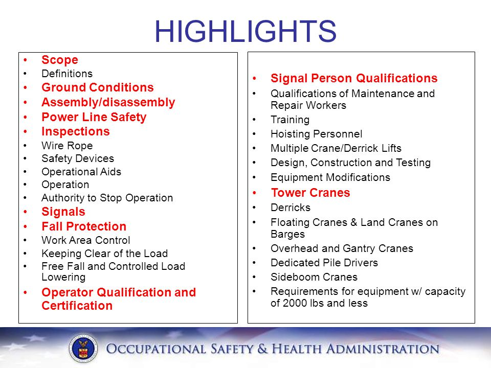 HIGHLIGHTS Scope Signal Person Qualifications Ground Conditions