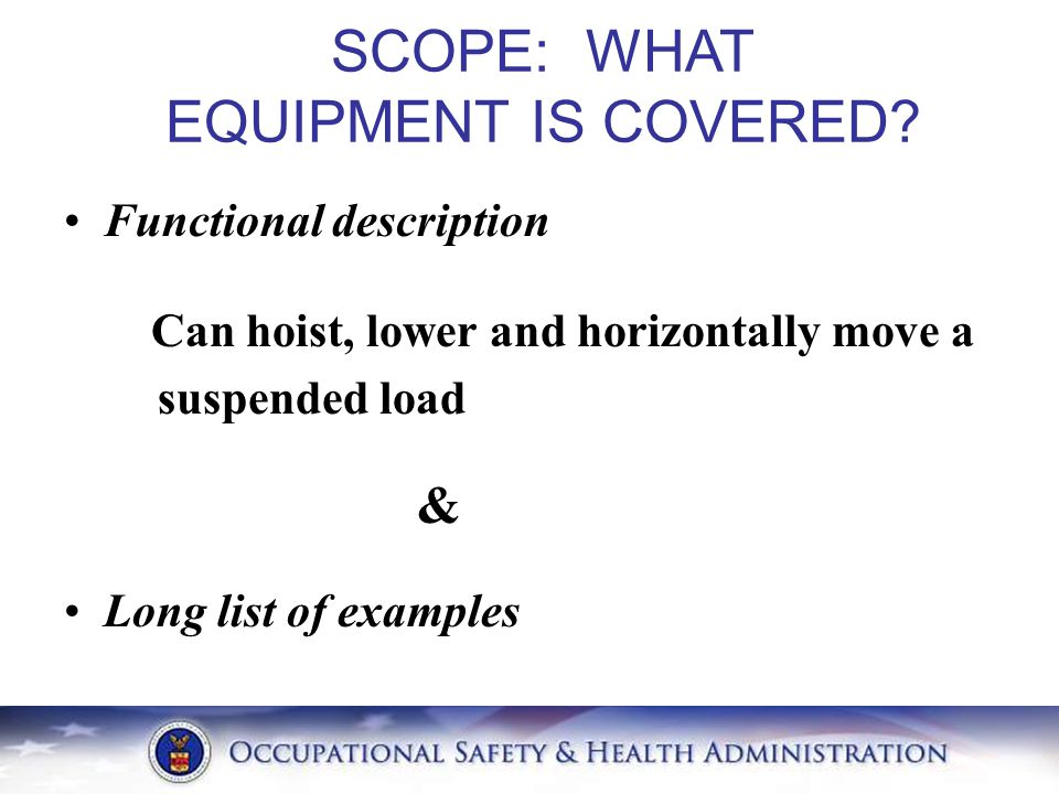 SCOPE: WHAT EQUIPMENT IS COVERED