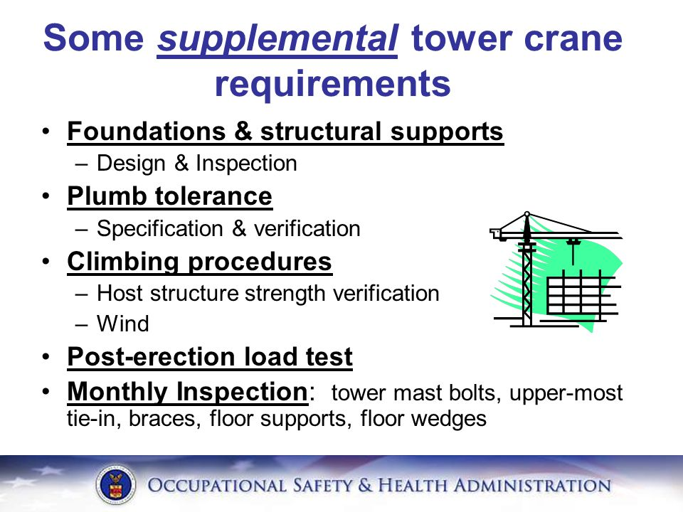 Some supplemental tower crane requirements