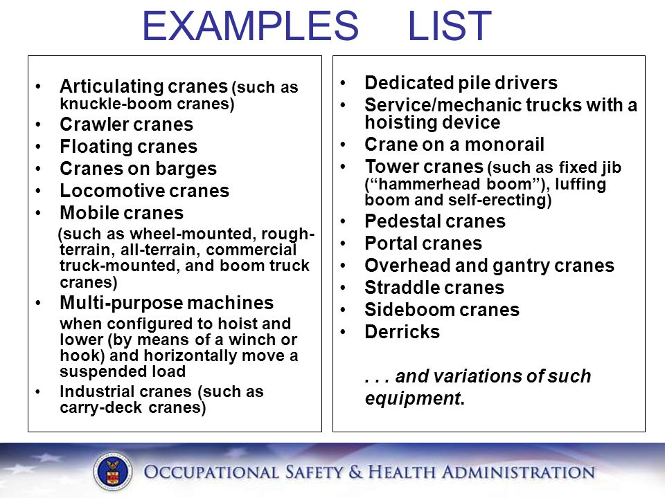 EXAMPLES LIST Articulating cranes (such as knuckle-boom cranes)