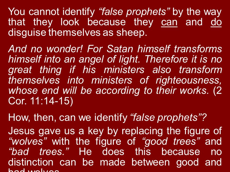 You cannot identify false prophets by the way that they look because they can and do disguise themselves as sheep.