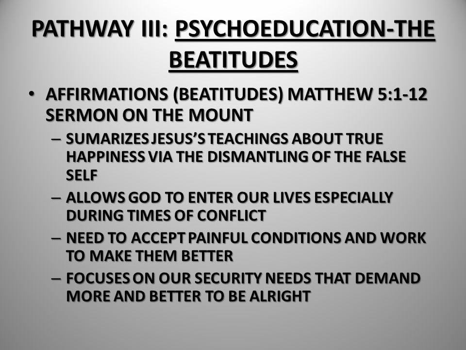 PATHWAY III: PSYCHOEDUCATION-THE BEATITUDES