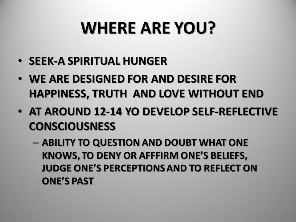 WHERE ARE YOU SEEK-A SPIRITUAL HUNGER