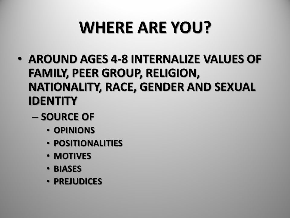 WHERE ARE YOU AROUND AGES 4-8 INTERNALIZE VALUES OF FAMILY, PEER GROUP, RELIGION, NATIONALITY, RACE, GENDER AND SEXUAL IDENTITY.