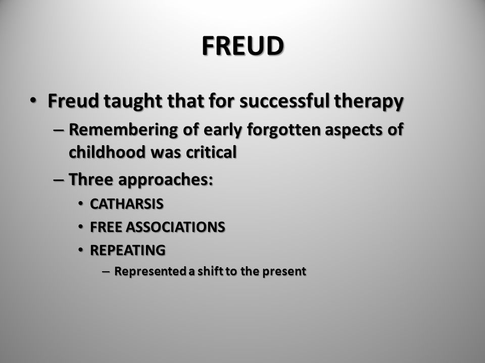 FREUD Freud taught that for successful therapy