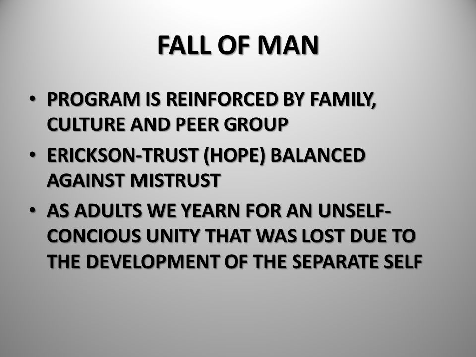 FALL OF MAN PROGRAM IS REINFORCED BY FAMILY, CULTURE AND PEER GROUP