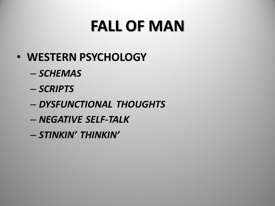 FALL OF MAN WESTERN PSYCHOLOGY SCHEMAS SCRIPTS DYSFUNCTIONAL THOUGHTS