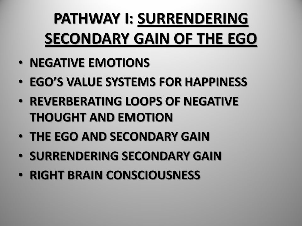PATHWAY I: SURRENDERING SECONDARY GAIN OF THE EGO