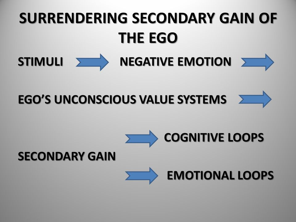 SURRENDERING SECONDARY GAIN OF THE EGO