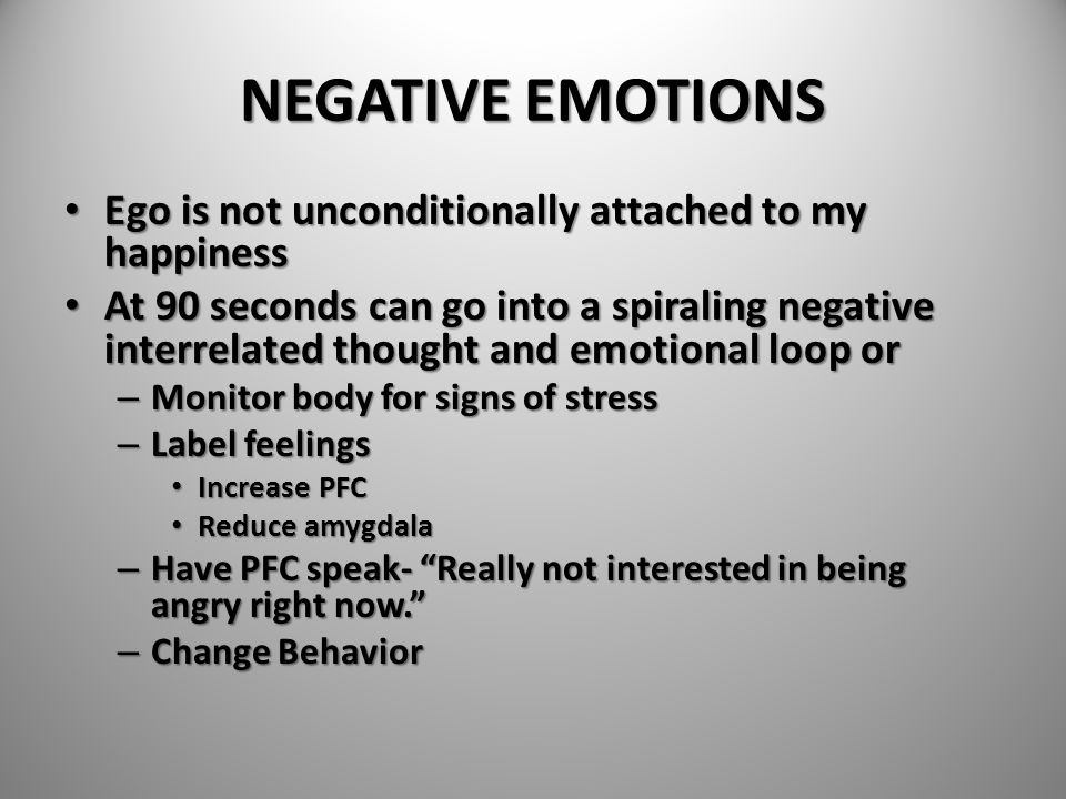 NEGATIVE EMOTIONS Ego is not unconditionally attached to my happiness