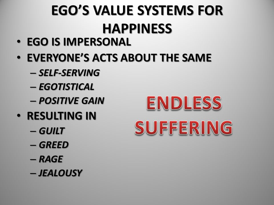 EGO'S VALUE SYSTEMS FOR HAPPINESS