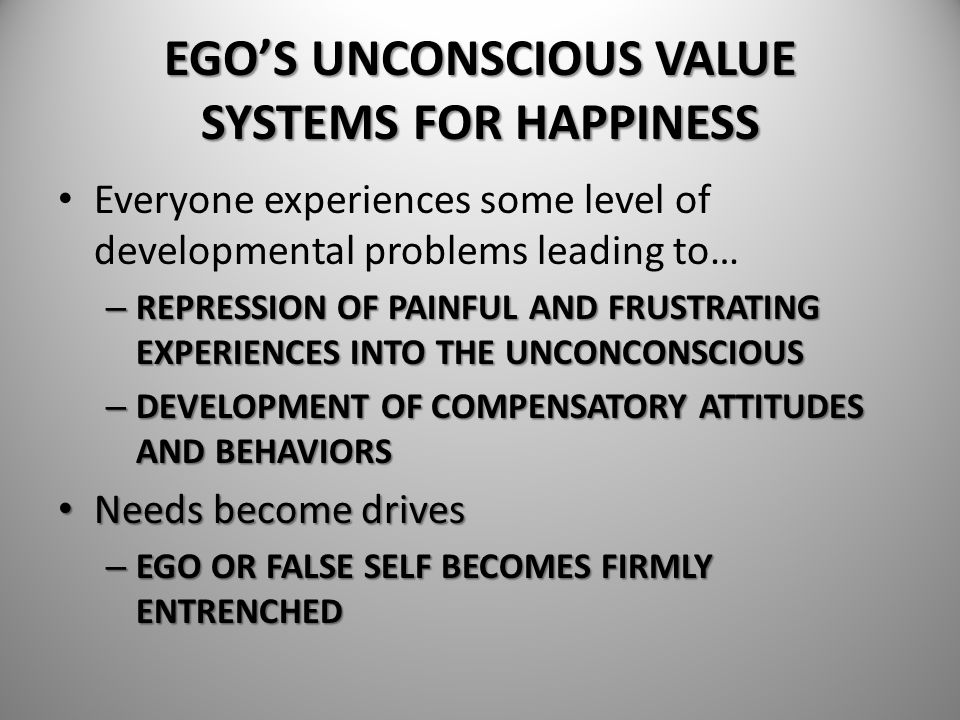 EGO'S UNCONSCIOUS VALUE SYSTEMS FOR HAPPINESS