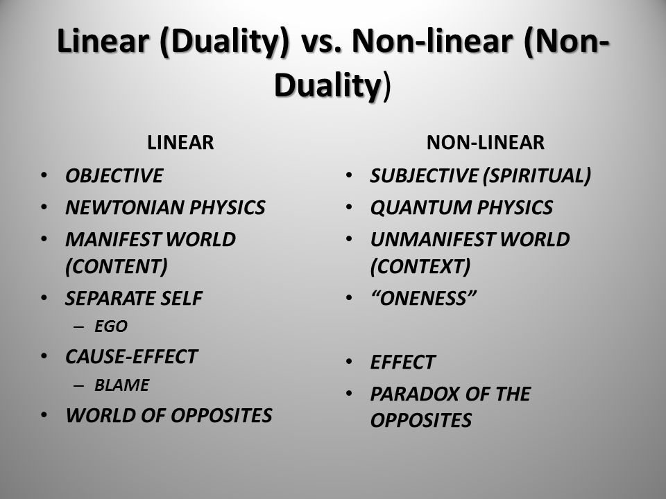 Linear (Duality) vs. Non-linear (Non-Duality)