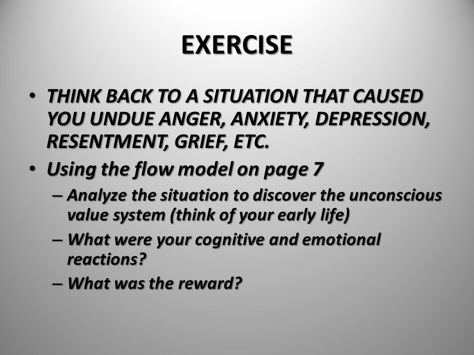 EXERCISE THINK BACK TO A SITUATION THAT CAUSED YOU UNDUE ANGER, ANXIETY, DEPRESSION, RESENTMENT, GRIEF, ETC.