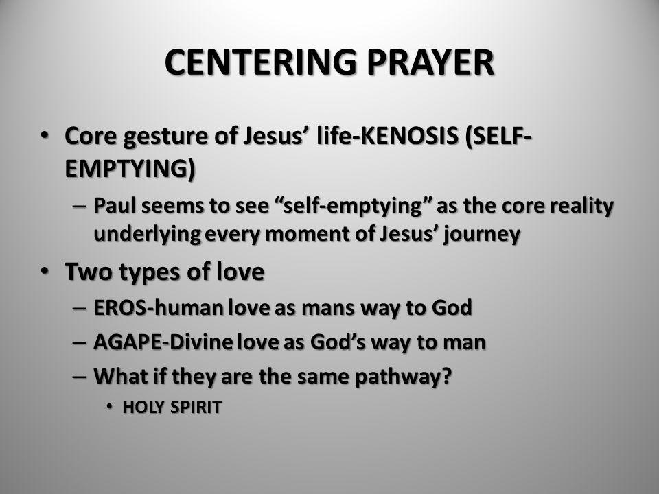 CENTERING PRAYER Core gesture of Jesus' life-KENOSIS (SELF-EMPTYING)