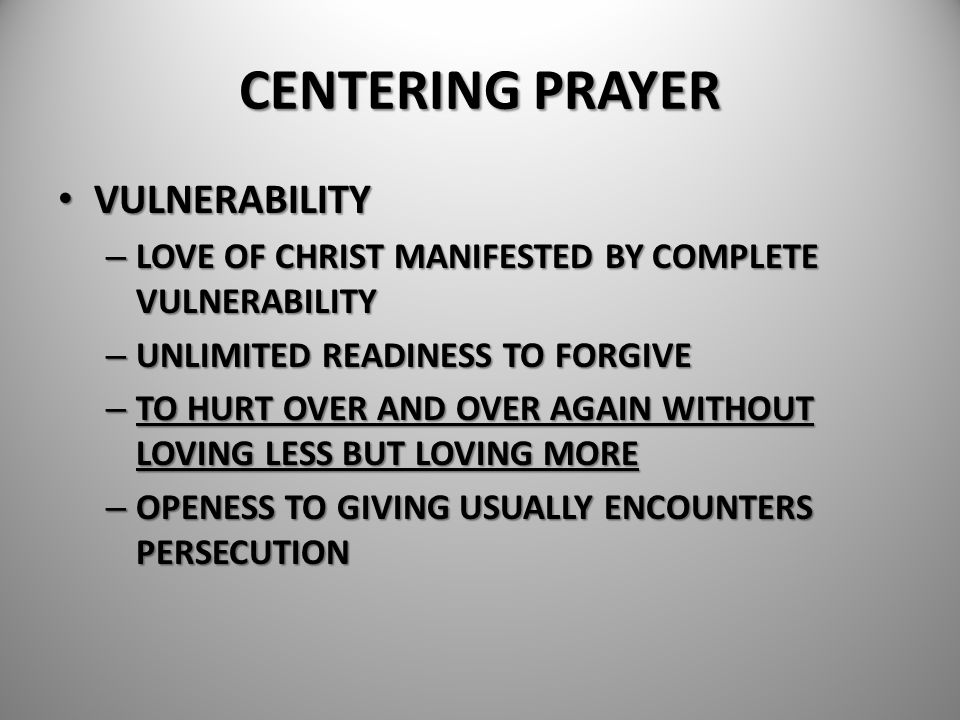 CENTERING PRAYER VULNERABILITY