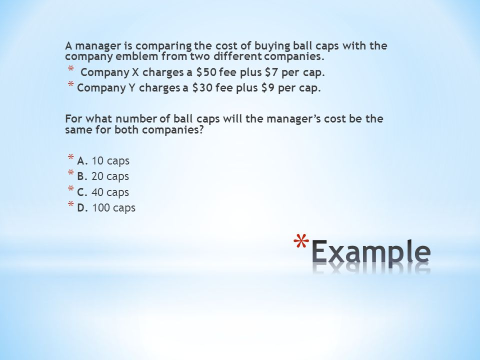 A manager is comparing the cost of buying ball caps with the company emblem from two different companies.