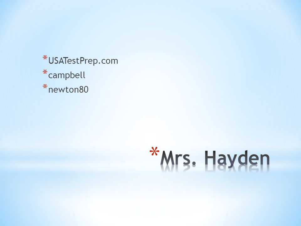 USATestPrep.com campbell newton80 Mrs. Hayden
