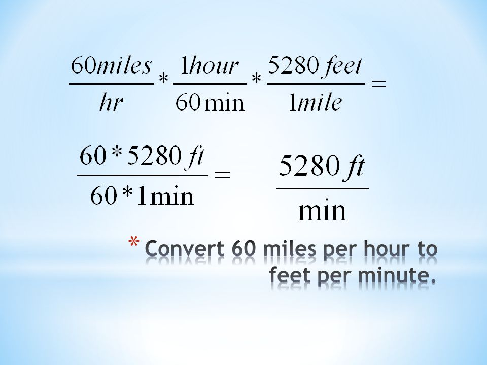Convert 60 miles per hour to feet per minute.
