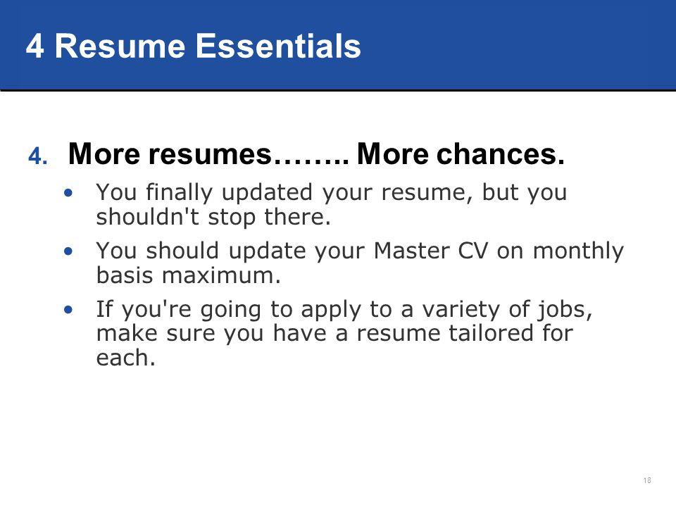 4 Resume Essentials More resumes…….. More chances.