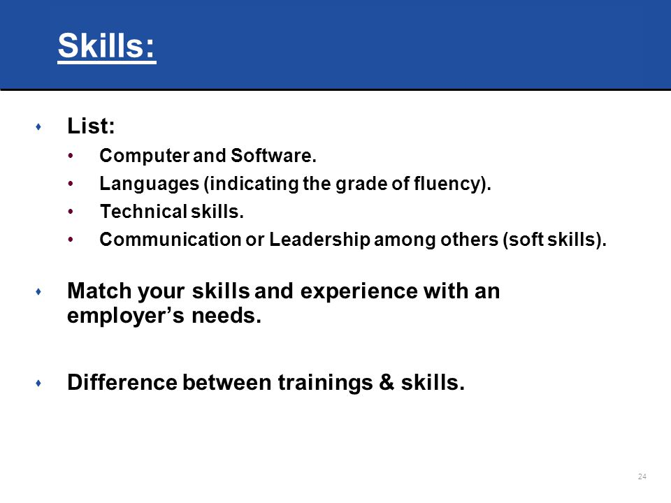 24 Skills: List: Computer And Software.  Technical Skills List