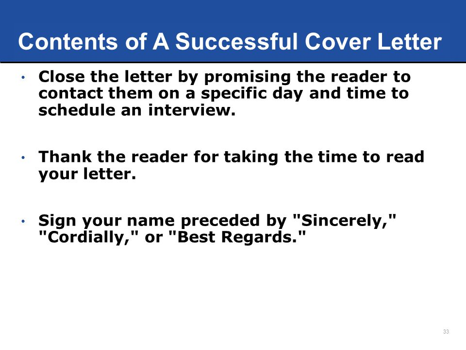 Contents of A Successful Cover Letter