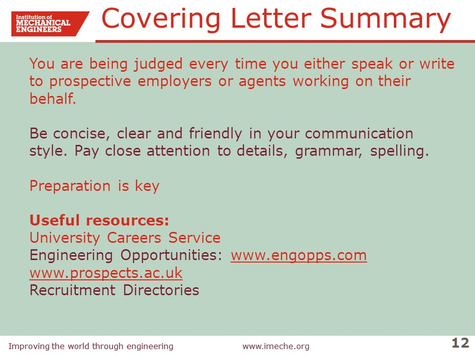 Covering Letter Summary