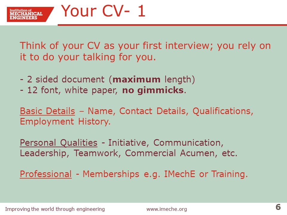 Your CV- 1